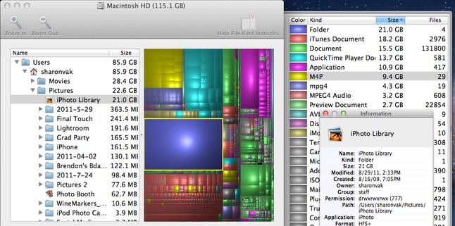 espacio ocupado en disco en un mac