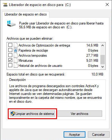 windows liberar espacio disco